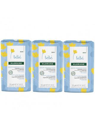 Клоран Бебе Мыло детское сверхпитательное с календулой НАБОР (3 штуки по 250 г.) Klorane Bebe Ultra rich soap Extra mild Savon surgras tres doux (00555NAB)